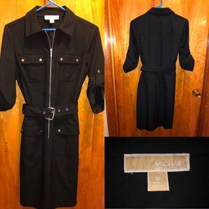 Black Michael Kors Belted Shirt Dress